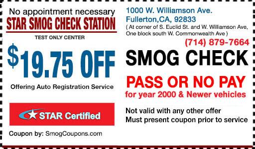 Smog Coupon Fullerton, CA 92833, $19.75 OFF Smog Coupon